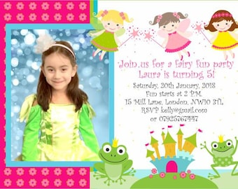 Downloadable/Prinatble Personalised Photo Birthday Party Invitations Fairies