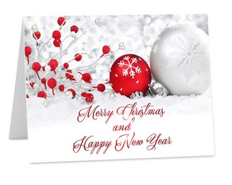 Downloadable Personalised Christmas New Year Company Corporate Cards with your Logo printable, digital