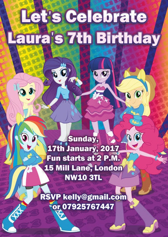 10 X My Little Pony Equestria Girls Personalised Children Birthday Party Invitations Or Thank You Cards