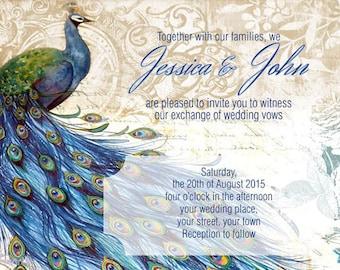 Downloadable Personalised/Customised Wedding Invitations Peacocks Theme