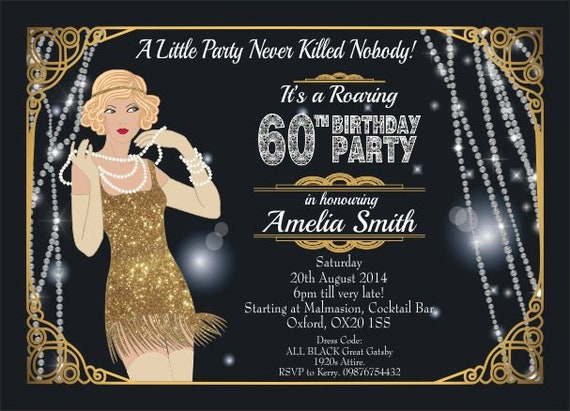 10 x Great Gatsby Birthday Party Invitations and Thank you Cards Art Deco