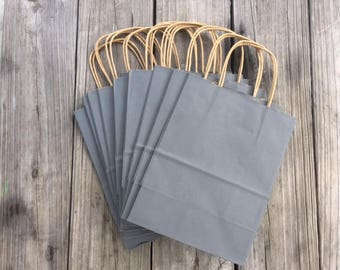 """250 Pack Gray Gift Bags/Wedding Welcome Bags/Charcoal Gray Gift Bags/Grey Gift Bags/8""""x4""""x10"""""""