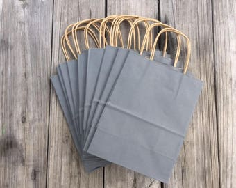 """100 Pack Gray Gift Bags/Wedding Welcome Bags/Charcoal Gray Gift Bags/Grey Gift Bags/8""""x4""""x10"""""""