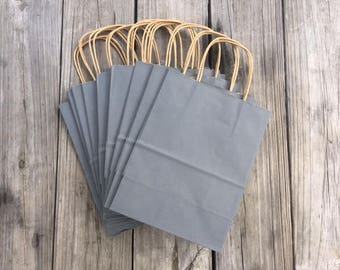 "20 Pack Gray Gift Bags/Wedding Welcome Bags/Charcoal Gray Gift Bags/Grey Gift Bags/8""x4""x10"""