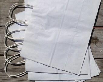 20 Pack - White Kraft Paper Handle Bags (16x6x12)