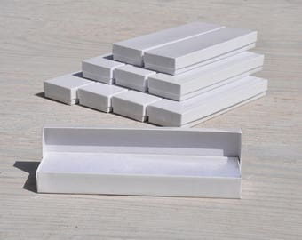 10 White 8x2x1 Gift Jewelry Necklace Bracelet Boxes with Cotton Fill Size 82