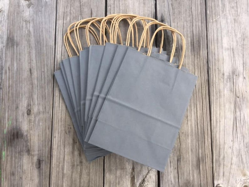 20 Pack Gray Gift Bags/Wedding Welcome Bags/Charcoal Gray Gift image 0