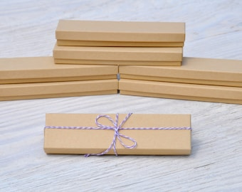 10 Kraft 8x2x1 Gift Jewelry Necklace Bracelet Boxes with Cotton Fill Natural Craft Box Size 82