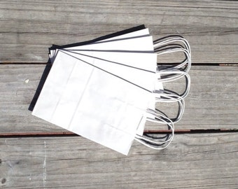 20 Pack White Kraft Paper Bag With Twisted Handle ( 5.25x 3.25 x 8.375)