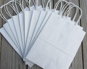 20 Pack - White Kraft Paper Handle Bags (8 x 4 x 10)