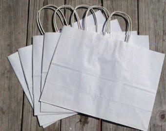 50 Pack - White Kraft Paper Handle Bags (16x6x12)