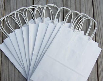"""50 Pack - White Kraft Gift Bags 8""""x4""""x10""""/Wedding Welcome Bags"""