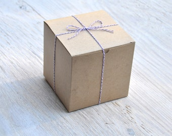25 Kraft 6x6x6 Box One Piece with Tuck Lid Gift Favor Box