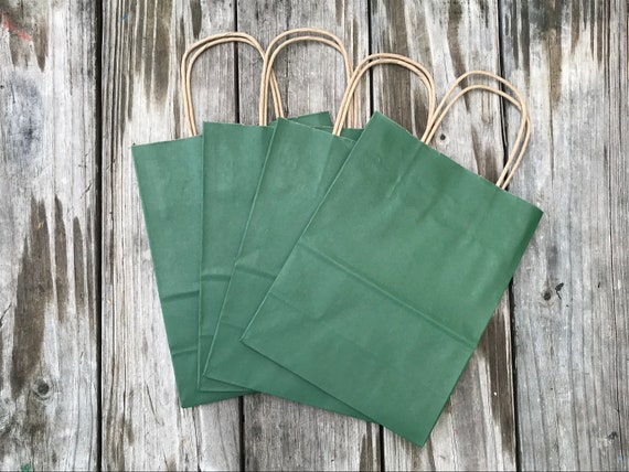 50 Pack Forest Green Gift BagsKelly Green Gift BagsWedding Welcome Bags8x4x10