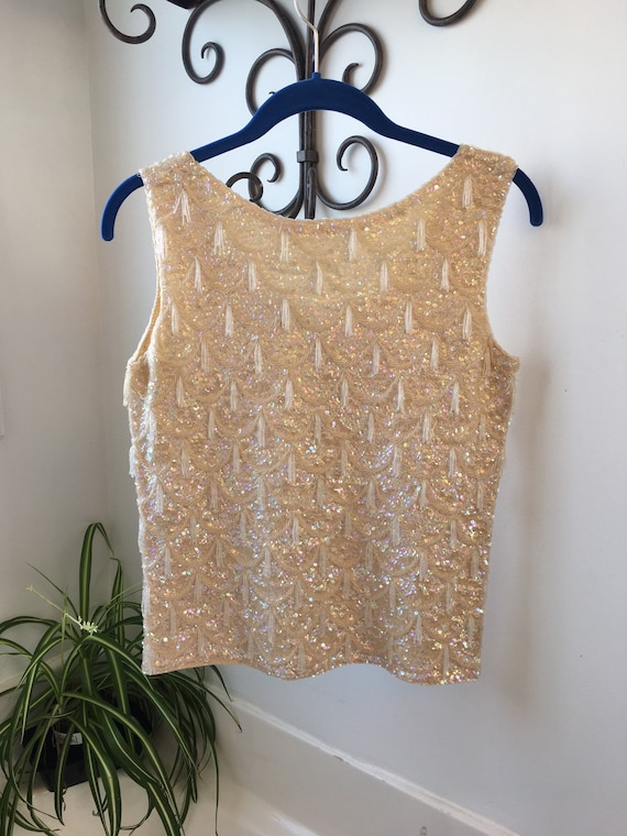 Beaded and sequined cream wool tank top sweater vi
