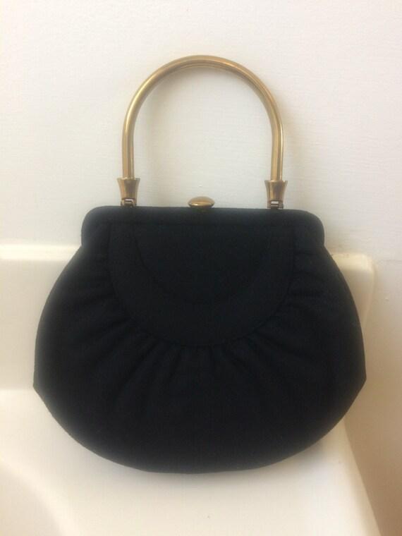 Vintage 1940 Black Wool Handbag