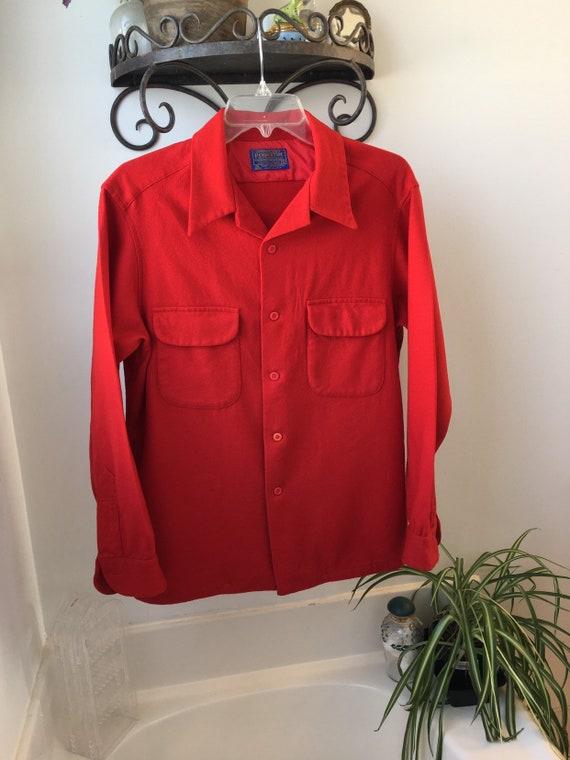 Vintage 1940 Red Wool Pendleton shirt jacket