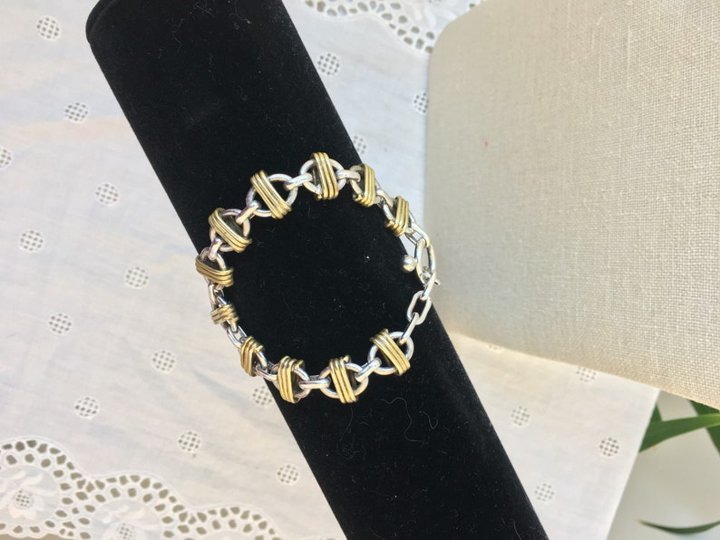 Vintage silver chain link bracelet with gold plated wrapped links