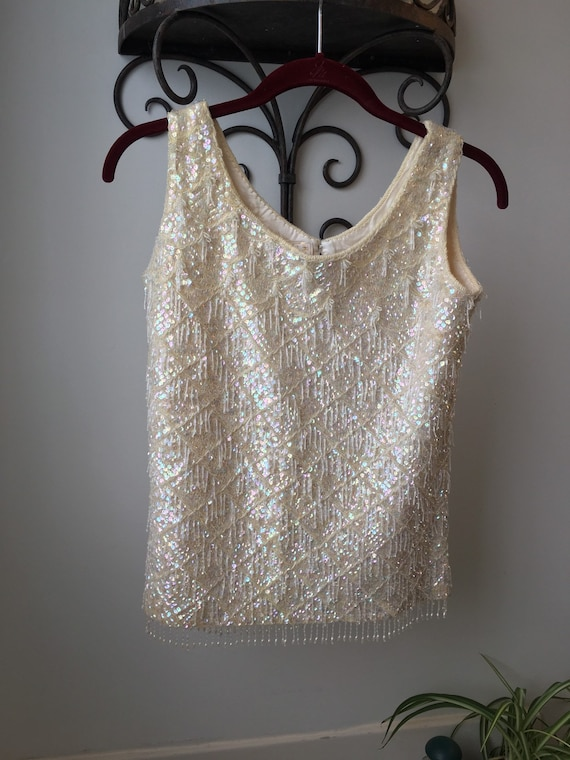 Beaded and sequined cream colored lined wool tank