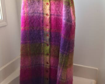 Hand woven Scottish plaid maxi skirt flouresent colors!