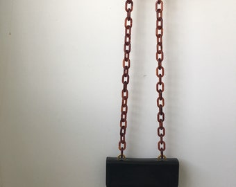 Black Henri Bendel shouder bag with lucite chain strap 1980
