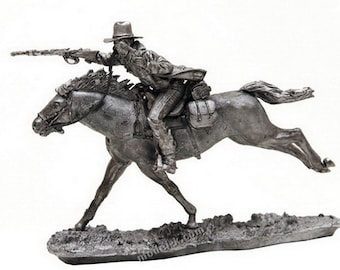 tin castings Wild West Cowboy galloping on horseback 1/32 Scale