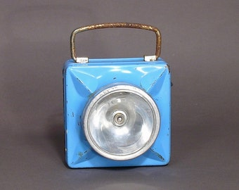 French Flashlight WONDER 1960 - Blue Flashlight Cargo Type - Made In France Lighting - Industrial Home Trend - Rustic Boho Trend