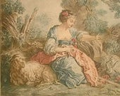 Demarteau Antique Romantic Engraving French 18th Engraving French Artist Jean-Baptiste Huet Shabby Chic Wall Art Collection