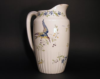 Water Pitcher Longchamp France - French Ceramic Vase - Made in France 1920 - French Ceramic Collectible Bathroom - Retro French Earthenware