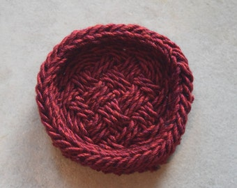 Unique Ply-Split Vessel, small basket for special items (jewelry) – Deeply Red