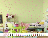 5 Sizes 285 Color Polka Dot Vinyl Wall Decal - 2, 1.5, 1.25, 1, 3/4 inch Circles Girls Boys Bed Room Removable Sticker Custom Decor Play Fun