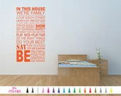 In This House We're Family Love Laugh Hug Rules Wall Quote Viny Decal Sticker Mirror Room Door Bedroom Art Love Wall Decor Lettering Words