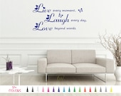 Live Every Moment, Laugh Every Day, Love Beyond Words - Removable Art Wall Quote Sticker Vinyl Decal Home Room Decor Bedroom Hallway Mirrors
