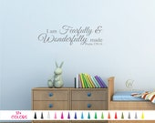 Psalm 139:14 I am Fearfully Wonderfully made Vinyl Wall Decal - Custom Decoration Quote Sticker 17 Colors - Multiple Size Choice Home Decor