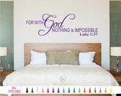 Luke 1:37 Decal, Bible Wall Decal, Scripture Wall Decal, Christian Wall Decal, Bible Verse Decal, Scripture Decal, Religious Wall Decal Art