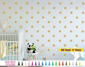 "99 Stars Vinyl Wall Decal - 2"" inch Girls Boys Bed Room Removable Rounded Tip Star Single Color Sticker Custom Craft Decor Play Peel Fun"