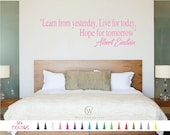 Learn From Yesterday Live for Today Hope for Tomorrow Wall Quote Decal Albert Einstein Inspirational Saying Vinyl Sticker Home Room Decor