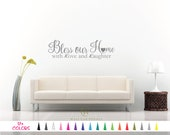 Bless Our Home With Love and Laughter Vinyl Wall Quote Decal - Home - Bedroom Living Room Hallway Door Art Mirror Family Sticker Window