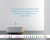 Isaiah 26:3 Keep Him In Perfect Peace Because He Trusts U Vinyl Wall Decal Custom Decoration Quote Sticker. 19 Colors - Multiple Size Choice