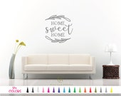 Home Sweet Home Vinyl Wall Decal. Custom Decoration Quote Sticker 17 Colors - Multiple Size Choice. Bed Living Room Wall King Queen Twin