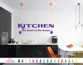 Kitchen the Heart of the Home Wall Quote Vinyl Decal Coffee Saying Dining Room Pantry Door Home Wall Art Decor Removable Sticker