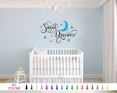 Sweet Dreams Vinyl Wall Decal. Custom Decoration Quote Sticker. 17 Colors - Multiple Size Choice Nursery Child Kids Room Boy Girl Stars