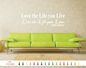 Bob Marley Wall Quote Vinyl Decal Love the Life you live Inspirational Saying Sticker Mirror Living Room Home Decor Bedroom