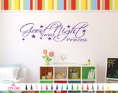 Good Night Sweet Princess Vinyl Decal Bedtime Wall Quote Sticker Home Nursery Bedroom Infant Decor Baby Girl Daughter Child Kids Playroom