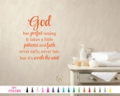 God has Perfect timing Vinyl Wall Decal Custom Decoration Quote Sticker 19 Colors - Multiple Size Choice