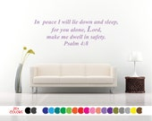 Psalm 4:8 Lie Down in Peace And Sleep For You Lord Vinyl Wall Decal. Custom Decoration Quote Sticker.  19 Colors - Multiple Size Choice
