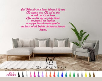 The Lords Prayer Our Father Who Art in Heaven Amen Vinyl Wall Decal. Custom Decoration Quote Sticker. 19 Colors - Multiple Size Choice