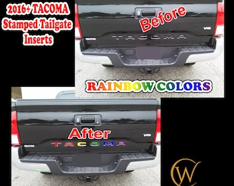 Stamped Tailgate Insert Letters Decals for 2016 17 18 2019 2020 2021 Toyota Tacoma truck Rainbow Custom Vinyl Sticker Lettering Accessories