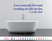 Love Yourself first and everything else falls into line Lucille Ball Wall Quote Vinyl Decal Removable Sticker Mirror Room Door Bedroom Art