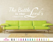 1 Sam 17:14 The Battle is the Lords Decal, Bible Wall Decal, Scripture Wall Decal, Christian Wall Decal, Bible Verse Decal, Religious Decal